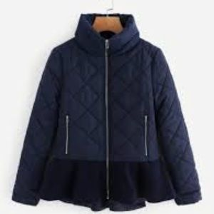 NWOT SheIn sz small quilted Navy peplum jacket